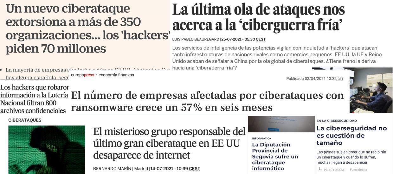 Titulares de prensa de los ataques de ramsonware más conocidos.